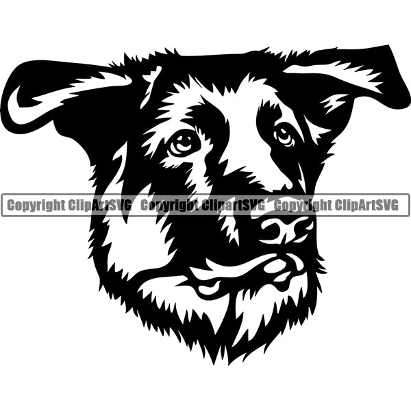 German Shepherd Dog Breed Head Face ClipArt SVG 013