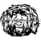 Portuguese Water Dog Breed Head Face ClipArt SVG 001