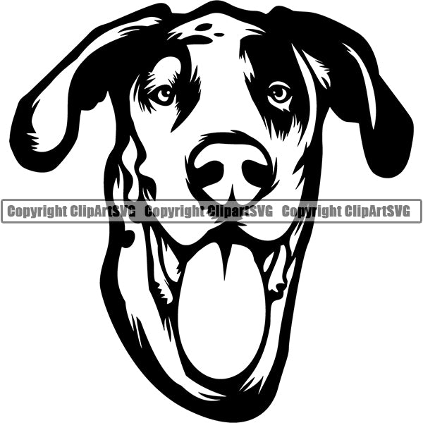 Great Dane Dog Breed Head Face ClipArt SVG 008