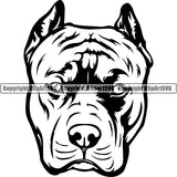 Pit Bull Dog Breed Head Face ClipArt SVG 020