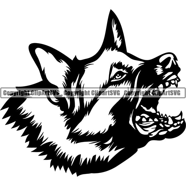 German Shepherd Dog Breed Head Face ClipArt SVG 027