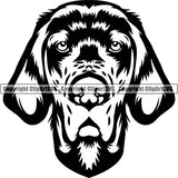 English Setter Dog Breed Head Face ClipArt SVG 002