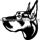Great Dane Dog Breed Head Face ClipArt SVG 007
