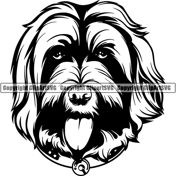 Labradoodle Dog Breed Head Face ClipArt SVG 001