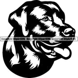 Labrador Retriever Dog Breed Head Face ClipArt SVG 009
