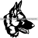 German Shepherd Dog Breed Head Face ClipArt SVG 011