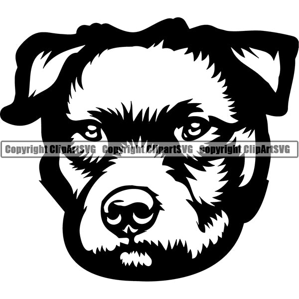 Patterdale Dog Breed Head Face ClipArt SVG 001