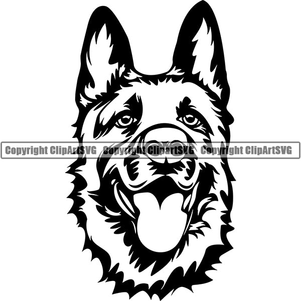 German Shepherd Dog Breed Head Face ClipArt SVG 001