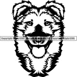 Mongrel Dog Breed Head Face ClipArt SVG 001