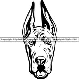Great Dane Dog Breed Head Face ClipArt SVG 006