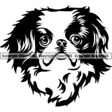 Japanese Chin Dog Breed Head Face ClipArt SVG 002