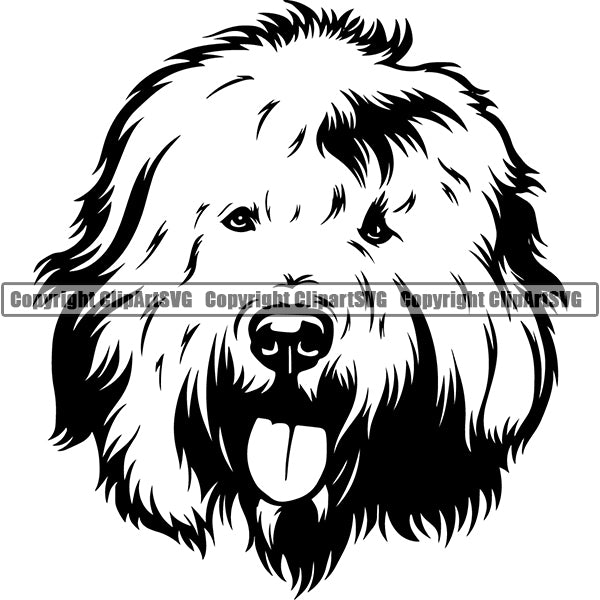 Old English Sheepdog Dog Breed Head Face ClipArt SVG 001