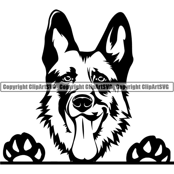 German Shepherd Peeking Dog Breed ClipArt SVG 006