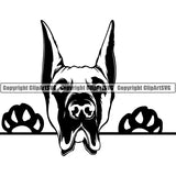 Great Dane Peeking Dog Breed ClipArt SVG 001