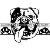 English Bulldog Peeking Dog Breed ClipArt SVG 005