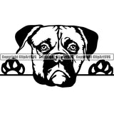 American Bulldog Peeking Dog Breed Clipart SVG