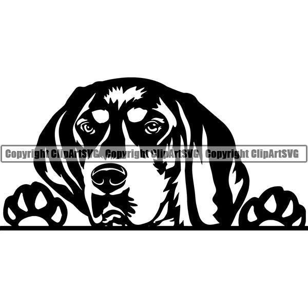 Bluetick Coonhound Peeking Dog Breed Clipart SVG 002