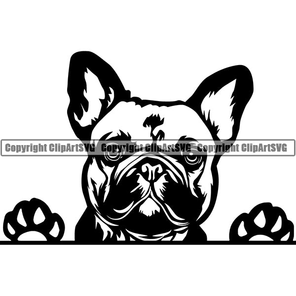 French Bulldog Peeking Dog Breed ClipArt SVG 002