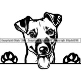 Jack Russell Terrier Peeking Dog Breed ClipArt SVG 004