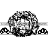 Portuguese Water Peeking Dog Breed ClipArt SVG