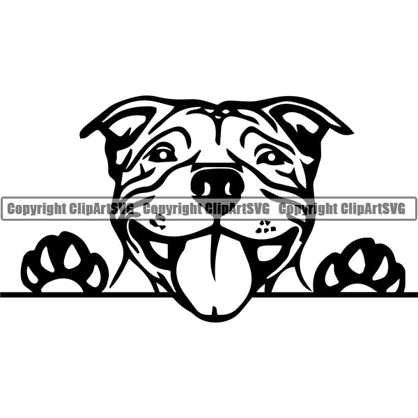 Pit Bull Peeking Dog Breed ClipArt SVG 025