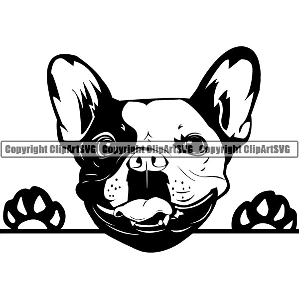 French Bulldog Peeking Dog Breed ClipArt SVG 005