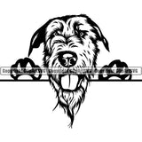 Irish Wolfhound Peeking Dog Breed ClipArt SVG