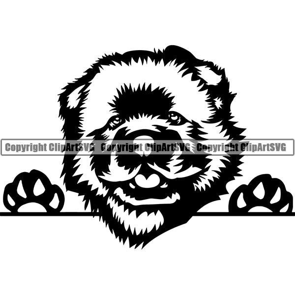 Chow Chow Peeking Dog Breed Clipart SVG 001