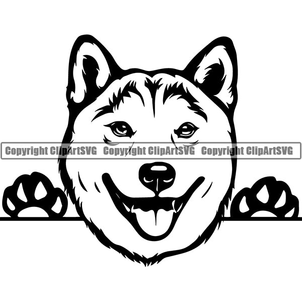 Shiba Inu Peeking Dog Breed ClipArt SVG 002