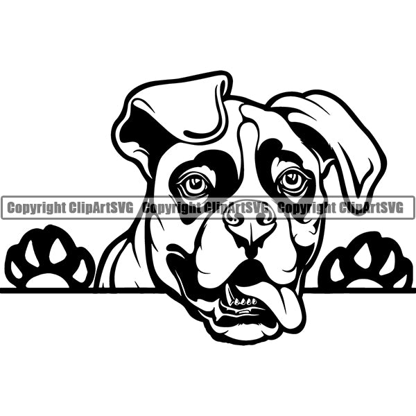 Boxer Peeking Dog Breed Clipart SVG 006