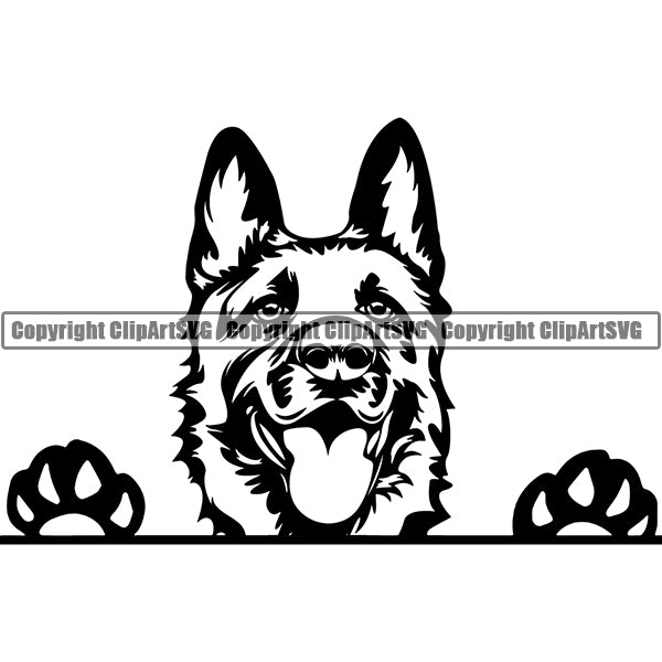 German Shepherd Peeking Dog Breed ClipArt SVG 001