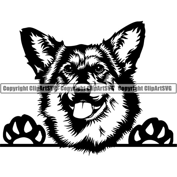 Welsh corgi Peeking Dog Breed ClipArt SVG