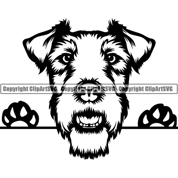 Fox Terrier Peeking Dog Breed ClipArt SVG 002