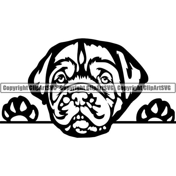 Dogue De Bordeaux Peeking Dog Breed ClipArt SVG 002