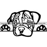 English Bulldog Peeking Dog Breed ClipArt SVG 008