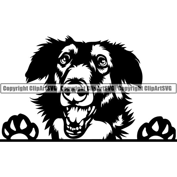 Borzoi Peeking Dog Breed Clipart SVG