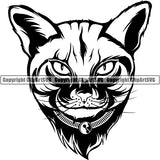 Abyssinian Cat Head Face Clipart SVG