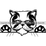 Persian Cat Peeking CliArt SVG 01