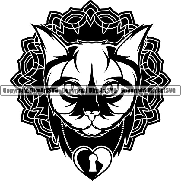 Main Coon Cat Head Face Clipart SVG 03