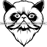 Himilayan Cat Head Face Clipart SVG