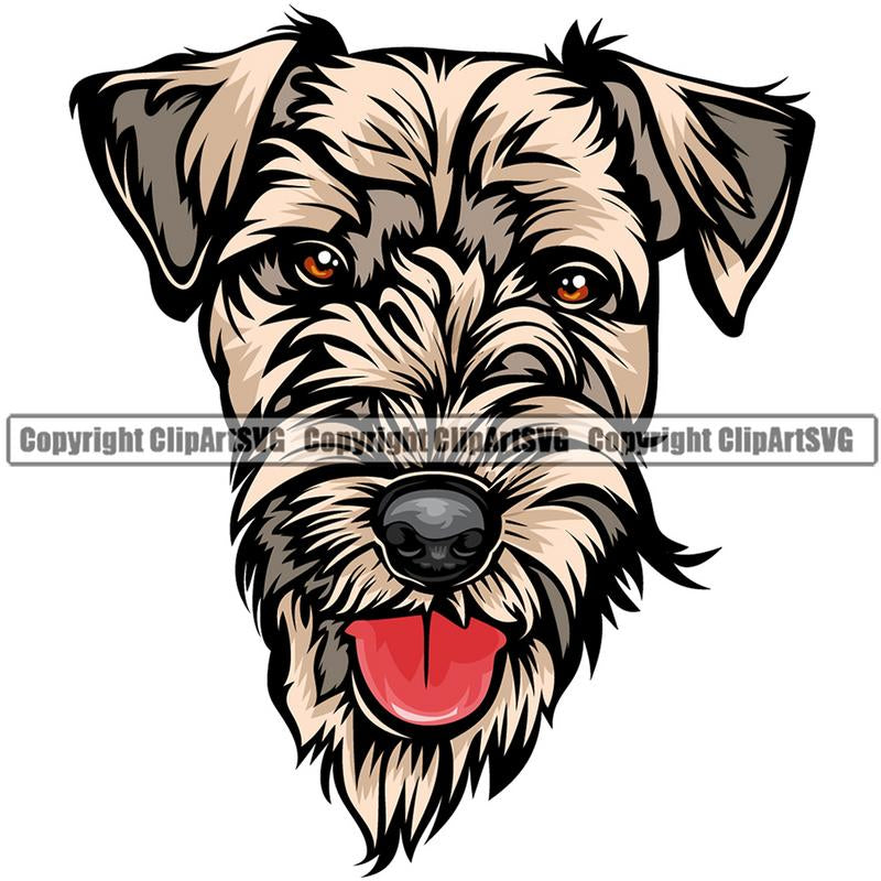 Airedale Dog Breed Head Color ClipArt SVG