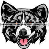 Akita Dog Breed Head Color ClipArt SVG