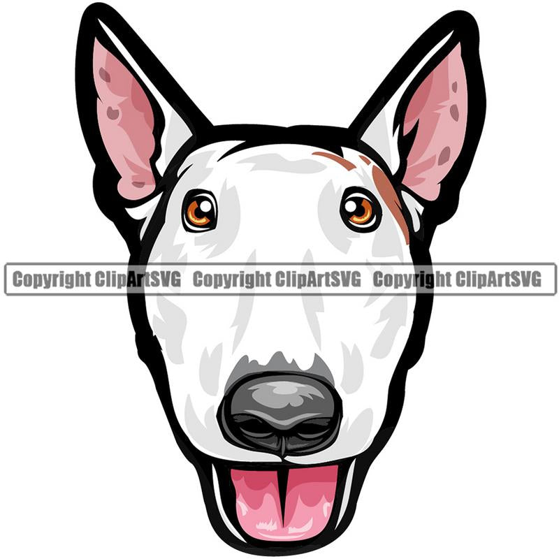 Bull Terrier Dog Breed Head Color ClipArt SVG