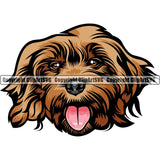 Cockapoo Dog Breed Head Color ClipArt SVG