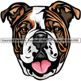 English Bulldog Dog Breed Head Color ClipArt SVG