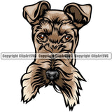 Fox Terrier Dog Breed Head Color ClipArt SVG