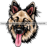 German Shepherd Dog Breed Head Color ClipArt SVG