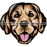 Golden Retriever Dog Breed Head Color ClipArt SVG