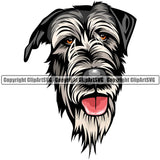 Irish Wolfhound Dog Breed Head Color ClipArt SVG