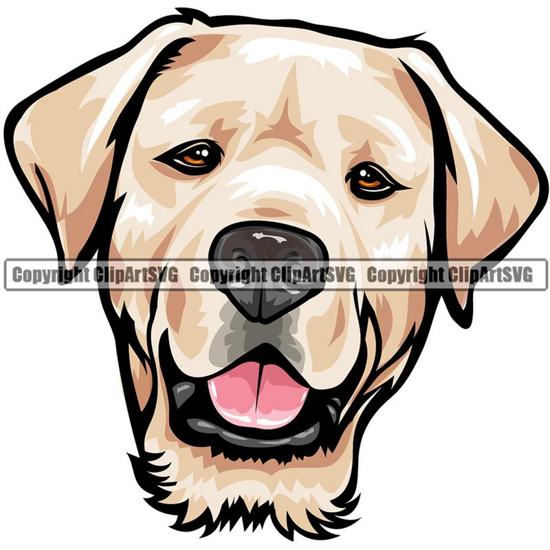 Labrador Retriever Dog Breed Head Color ClipArt SVG